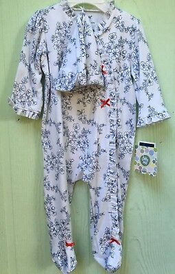 NWT LITTLE ME Baby Girl Footed Sleep& Play Set with Matching Hat sz. 6 mos