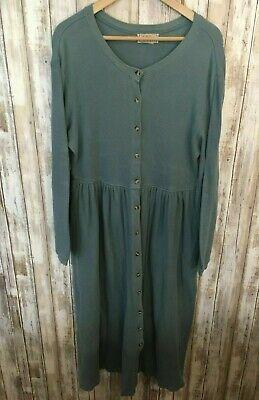 VTG LL Bean A-line Dress Long Blue Button Down Modest Country Prairie Size 14