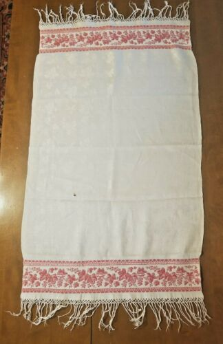 "ATQ LINEN DAMASK DISH TOWEL W/RED WOVEN GRAPE & LEAVES BORDER - 19"" X 38"" W/FRIN"