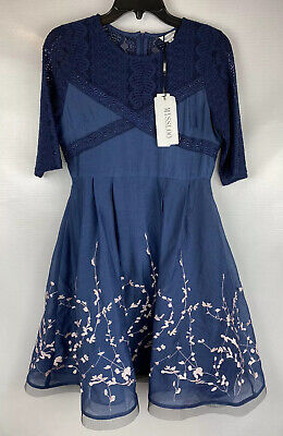 New, MISSLOOK Women's Blue Midi Dress Size 4, Lace, A Line, J