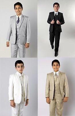 Boys 5 Piece Suit Kids Formal Dress Toddler Suits Outfit Set With Vest Tie Shirt - Boys Dress Clothes