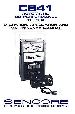 Sencore Cb-41 Cb41 Cb Performance Tester Manual