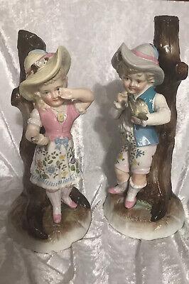 Austrian Elbogen Figurines Boy Girl Pair 1815 9in High Quality Pastel Colours