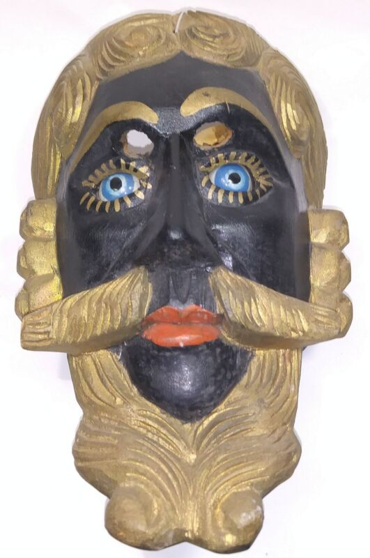 Guatemalan hand Carving Wood mask for dancing Conquest back and blue Glass eyes