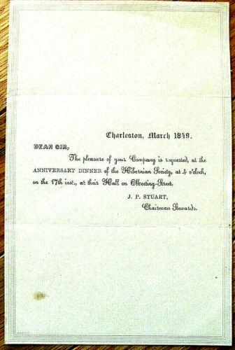CHARLESTON SOUTH CAROLINA IRISH HIBERNIAN HALL 1848 INVITATION