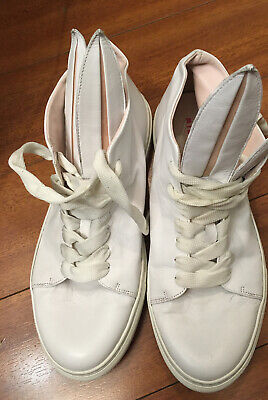 MINNA PARIKKA BUNNY HIGH TOP PLAYBOY WHT LEATHER SNEAKER SHOES 40
