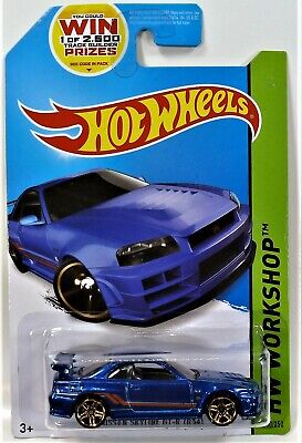 HOT WHEELS BLUE NISSAN SKYLINE GT-R (R34) 2014 WORKSHOP SERIES SHIPS IN BOX 1/64