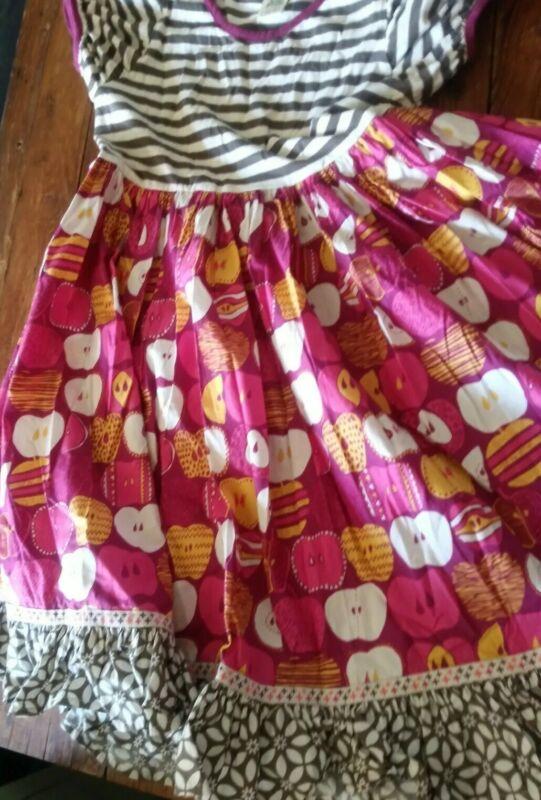 VGUC Wildflowers girls 12 short sleeve stripes and apples dress rare H2F tween
