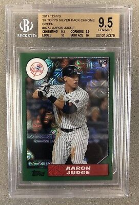 2017 Topps Aaron Judge '87 Silver Pack Chrome Green #137/150 BGS 9.5 TRUE GEM MT