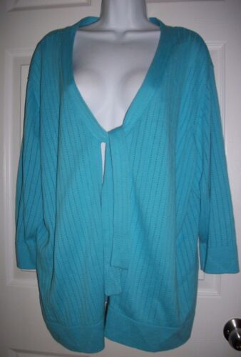 Designers Original Women's Blue Open Tie Front Sweater Size 3X