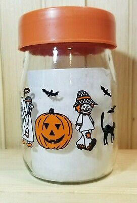 Vintage 1980 Halloween Carlton Glass Canister Lid Candy Jar Witch Ghost Cat Bats