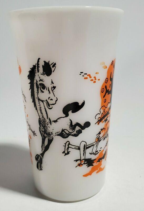 Vtg Child Milk Glass Tumbler Cup H Horse Jumping Fence Barn Autumn Alphabet Poem
