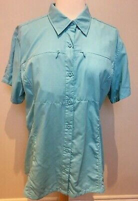 Expedition S/s Shirt (OUTDOOR EXPEDITION Ladies Aqua S/S UV 50+ Mosquito Repel Travel Camping Shirt 18)