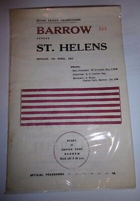 Barrow v St Helens 5th April 1965 League Match @ Craven Park, Barrow