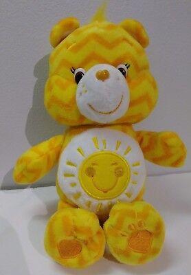 "Care Bears Funshne Bear orange zig zag plush 9"""