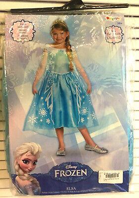Disney Frozen Elsa Costumes Child Kid Size Large Age 10-12 Dress Princess Tiara