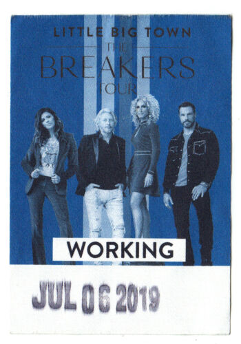 Little Big Town Backstage Pass - 2019 Breakers Tour - 7/6/19 - Canandaigua NY