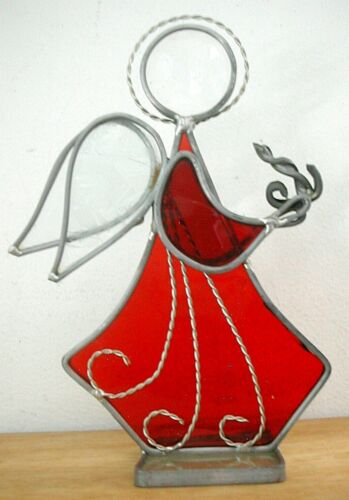 "Vintage Red STAINED GLASS ANGEL Christmas Holiday Decoration 6"" GVC"
