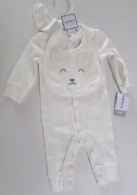 Carter's Baby Boys 3 Pc Ribbed Jumpsuit Set with Bear Bib & Socks Ivory 3 Month ()