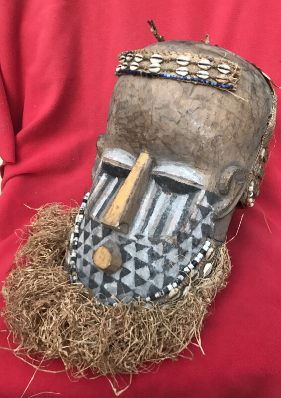 Outstanding Kuba Tribe Ceremonial Ancestor Mask With Raffia Beads & Shells
