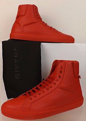 NIB GIVENCHY RED LEATHER URBAN KNOTS HI TOP TRAINER SNEAKERS 41 8