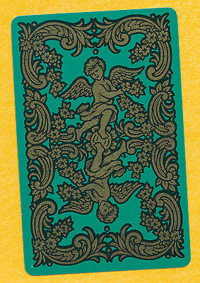 angels gold on green playing card single swap ace of spades - 1 card