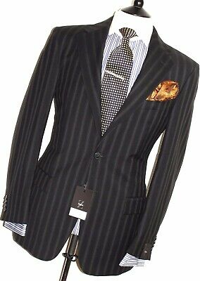 BNWT LUXURY MENS ERMENEGILDO ZEGNA STIPEY BLACK CLASSIC SUIT 40R W34
