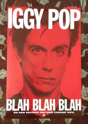 IGGY POP  Blah Blah Blah  rare original promotional poster  THE STOOGES