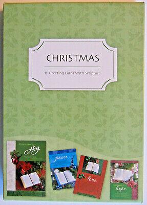 BOX 12 Christian Christmas Greeting Cards, Bible Scripture & Inspirational Verse Bible Greeting Cards