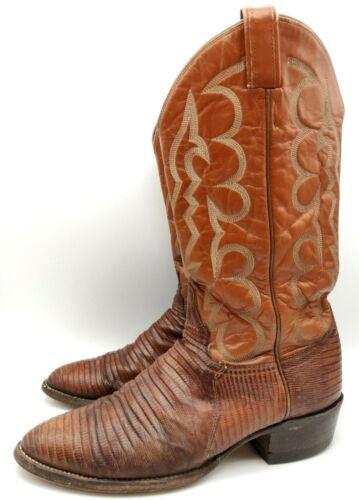 Vintage, Tony, Lama, Cowboy, Boots, Lizard, Skin, Brown, Style, 8025, Size, 7, D, US, Mens