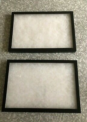 Two Table Top Display Cases Each 12 X 8 W Clear Class Lid Jewelry Medals