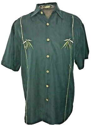 Bamboo Cay Mens S Black Embroidered Short Sleeve Tropical Casual Camp Shirt  Tropical Black Bamboo