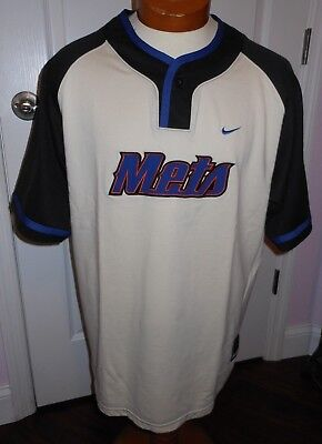NEW YORK METS NIKE TEAM BASEBALL JERSEY One Button Sweat Shirt  MEN'S SIZE  L Baseball-jersey Sweatshirt