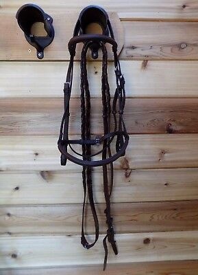 Gorgeous Courbette Cob Raised English Bridle w Reins Made in England L@@K!