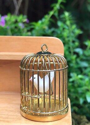 Miniature Dollhouse FAIRY GARDEN Accessories ~ Brass Metal Bird Cage w Bird NEW