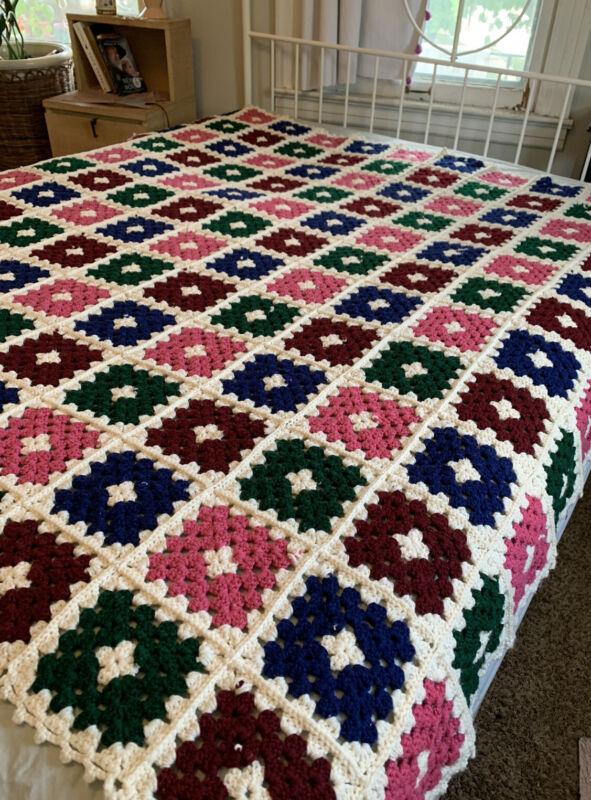Vintage Handmade Granny Square Afghan Crochet Picnic Throw Blanket Full Size
