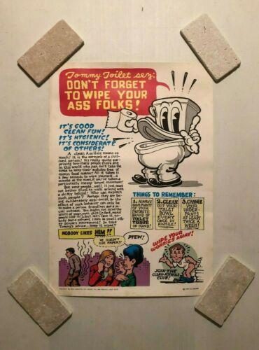 "Vintage Original 1st Print 1971 Tommy Toilet Sez by R Crumb Poster 15-1/2"" x 22"""
