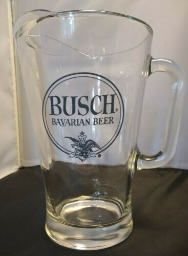 Vintage BUSCH Bavarian Beer Pre-1979 Glass Pitcher - Super Rare