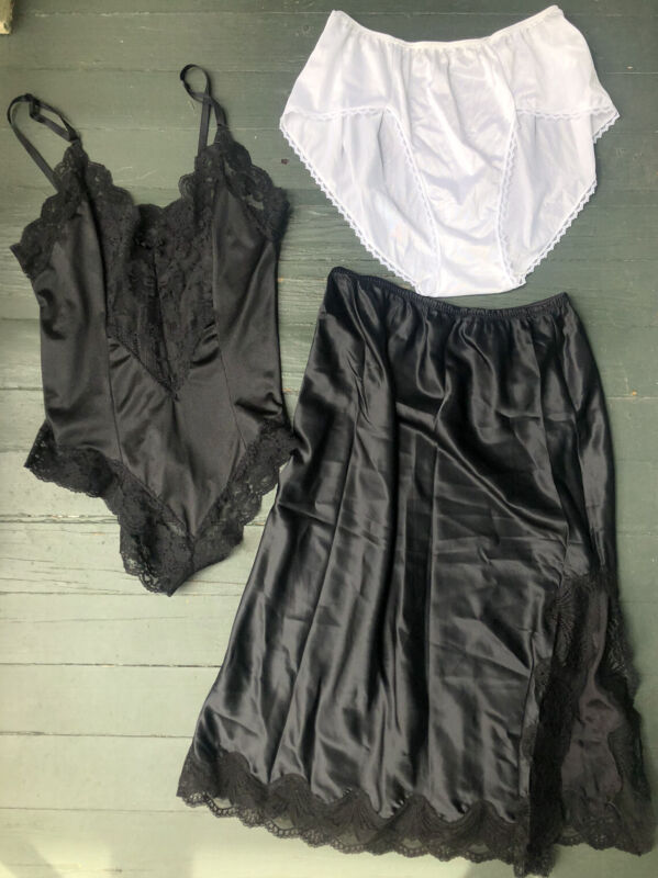 Vintage 70s 80s Lot Of 3 Lingerie Silky Slip Lace Undies Bodysuit Made In USA