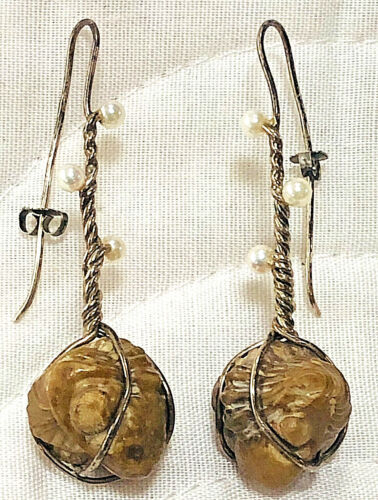 Vintage TRILOBITE French Wire Earrings Made with TRIBOLITE  Fossils, Seed Pearls