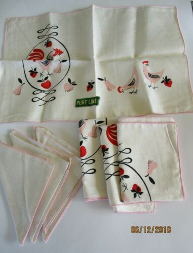 NEW Vintage MCM Set LINEN Red/Pink ROOSTER& Fruit  4 Placemats & 3 Napkins