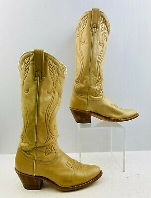 Ladies Acme Ivory Leather Round Toe Western Cowgirl Boots Size: 7 M