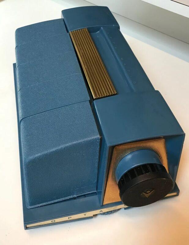 Vintage Opta-Matic 1950s Blue Marlex Slide Projector James Parcher Design~Works!
