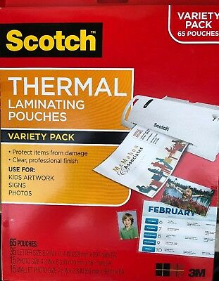 Scotch Thermal Laminating Pouches Variety Pack-65 Pouches. Total 5 Packs. In Box