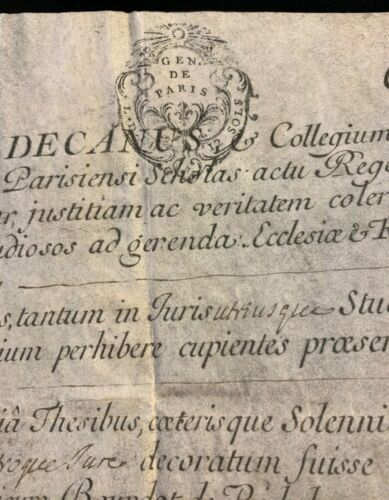 DIPLOMA ON PARCHMENT IN LATIN 1769 Bachelor Degree in Law