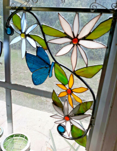 Corner piece stained glass W flowers and blue butterfly  New