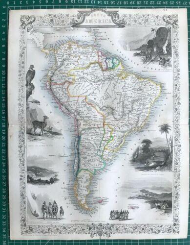 1851 Antique Map; South America by John Tallis / Rapkin