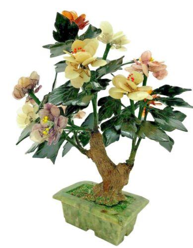 "Vtg 13"" X 10"" Chinese Carved Agate Jade  Quartz Stone Flowers Leaves Tree Bonsai"