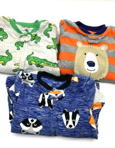 3 SimpleJoys Carters 24 mo Footed Fleece Blanket Sleepers Zip Bear Alligator Fox
