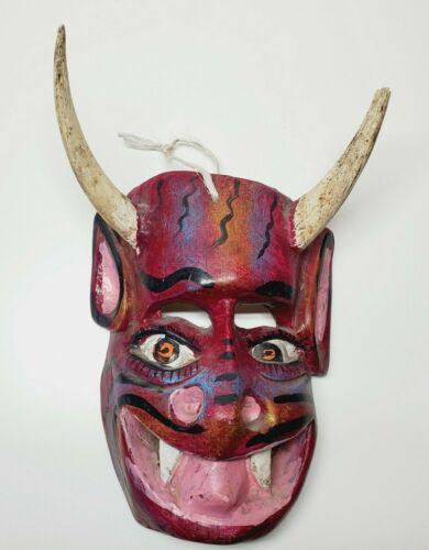 Vintage Mexican Folk Art Carved Wood Mask Devil Satan Diablo Real Horns